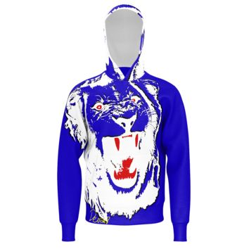 White Lion Men's Blue Hoodie (French Terry)