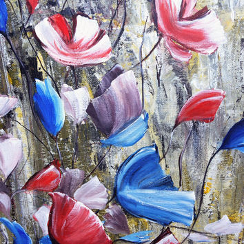 Abstract Flowers Painting, Acrylic Painting, Home Decor Painting, Abstract Painting, Red & Blue Flowers