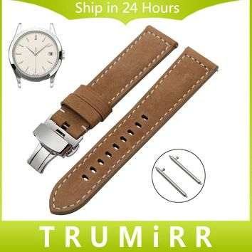22mm Quick Release Genuine Leather Watch Band for Patek Philippe Breitling Cartier IWC Blancpain Handmade Steel Buckle Strap