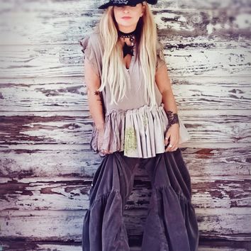 Boho chic linen tunic top taupe brown True Rebel Clothing