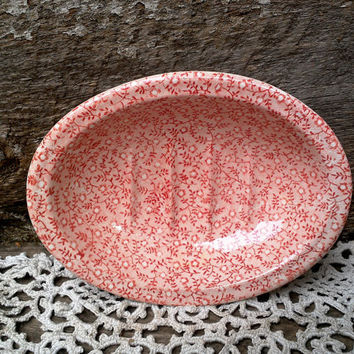 "SOAP DISH, Pink  ""Country Chintz""  Transferware Royal Crownford Staffordshire England, Bathroom, Bath Accessories, Pink Floral, Trinket Dish"