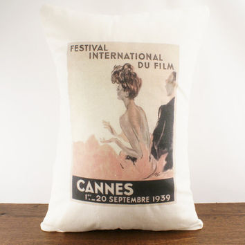 Cannes 1939 Hemp Cushion Cover 12x18 by sarahsmiledesign on Etsy