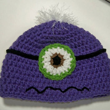 Purple Baby Toddler Child One Eye Evil Minion Hat. Despicable Me Minion Crochet Hat, crochet minion Halloween costume. Toddler hats