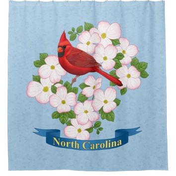 North Carolina State Cardinal Bird Dogwood Flower Shower Curtain