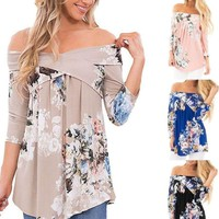 Womens Boho Floral Off The Shoulder Blouse