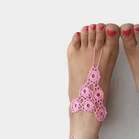 ON SALE Pink Crochet Barefoot Sandals , Flower  Crochet Anklet, Sexy Lace sandals,Beach,Wedding Yoga  Bottomless sandles