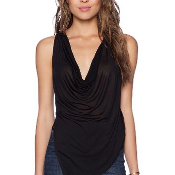 Black Drape Neck Tank Top