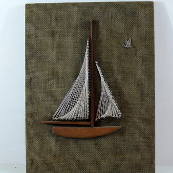 Vintage Boat Nail Art, Sailboat Wall Hanging, Vintage Americana, Nautical Art, Folk Art, Lake House Art