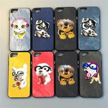 Cute Cartoon Dog Phone Case For iphone 6 6S Plus Animal Embroidery Soft TPU+PC Cloth Back Cover For iPhone 7 8 Plus Capa Coque
