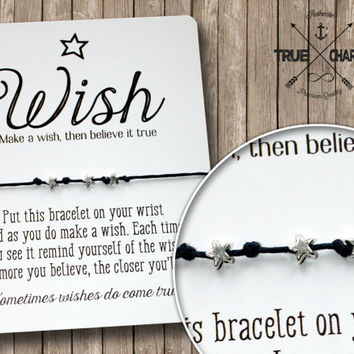 Make A Wish Bracelet - Friendship Bracelet - Silver Star Bracelet - Wishing Bracelet - Gift for Friend - Inspirational Quote Card –