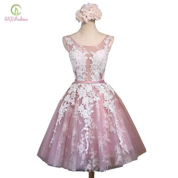 SSYFashion Short Pink Lace Flower Banquet Short Evening Dress The Bride Slim Sexy Transparent A-line Party Gown Formal Dresses