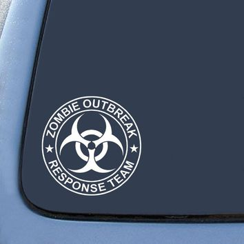 "Zombie Outbreak Response Team Sticker Decal Notebook Car Laptop 5"" (White)"