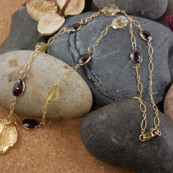 Gold-Filled Garnet & Citrine Shell Necklace