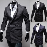 Blazer Style Men Fashion Double Breasted Wool Coat