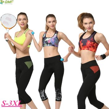 Breathable Quick Drying Sports Running Capri Pants For Women Black Patchwork Fitness Gym Workout Crop Tights High Waist Leggings