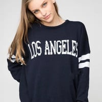 LOS ANGELES Graphic Print Striped Sleeve Knitted Sweater