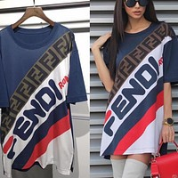 FENDI Summer Fashion Women Casual Print Short Sleeve Round Collar Dress