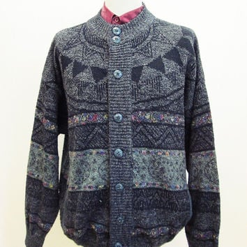 Vintage 80s Native Ethnic Geometric IndianJumper Cardigan XXL