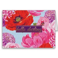 Girly Hello Darling Floral Note Card