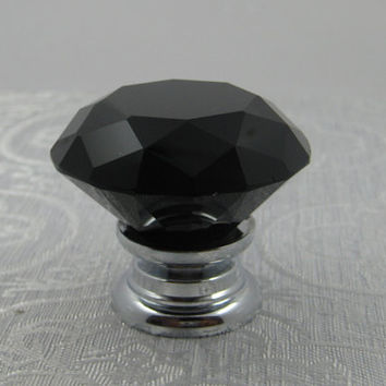 Black  Crystal Knob / Dresser Knobs /  Glass Knobs Drawer Pulls / Kitchen Cabinet Knob Pull Handles / Furniture Hardware  Silver Diamond