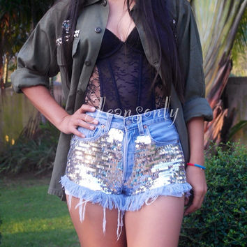 Levis High waisted denim shorts with glitter fabric Festival Coachella clothes Hipster Tumblr clothing by Jeansonly