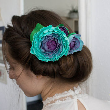 Wedding Hair Accessory , turquoise Wedding Hair Flowers,  Wedding Hair Piece, Bridal Hair Accessories, Bridesmaids Hair, Wedding Headpiece