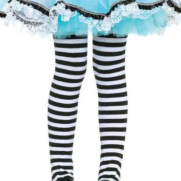 ONETOW Girl Stripe Tights in BLACK/WHITE