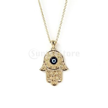 Fashion Gold Hamsa Hand of Fatima Evil Eye Pendant Necklace Chain Jewelry