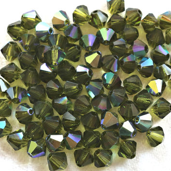 Lot of 24 6mm Olivine Green AB bicone beads, Preciosa Crystal Czech glass green bicones, C60150