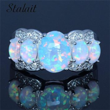 Fashion Blue Oval Shape Princess Color Fire Opal Ring Jewelry For Women Silver Color Zircon Wedding Engagement Ring Femme