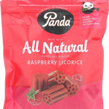 Panda All Natural Licorice Soft Chews - Raspberry - Case Of 12 - 7 Oz.