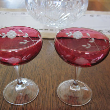 Vintage Pair of Cranberry Etched Champaign or Wine Glasses Floral