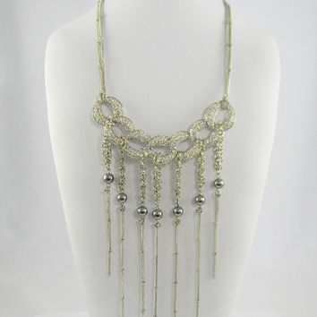 Silver Smoke Gray Faux Pearl Rhinestone Fringed and  Knot  BIB Collar Statement NECKLACE