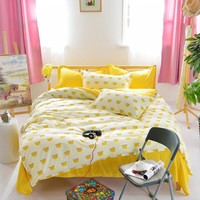 Duvet Cover/ Sheet / Pillowcase Set Yellow Crown