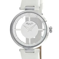 Women's Kenneth Cole New York Transparent Dial Leather Strap Watch, 36mm - White/ Silver