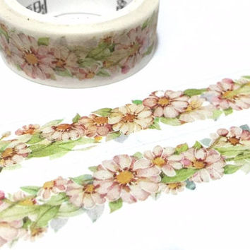 pink flower washi tape 7M wild flower pink garden green leaf flower journal flower diary flower notebook flower planner sticker tape decor