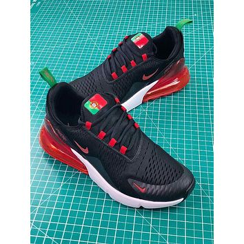 Nike Air Max 270 Fifa World Cup 2018 For Portugal In Black Red Sport Running Shoes