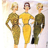 1960s Dress Pattern Mccalls Misses size 14 Wiggle Dress Sewing Pattern