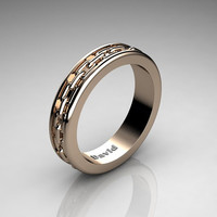 Mens Classic 14K Rose Gold Chain Inlay Wedding Band B1001M-14KRG