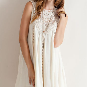Crochet Lace Flowy Dress - Natural
