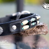 Southwest Black Leather Collar