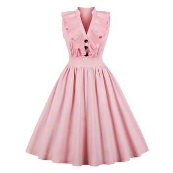 Elegant Ruffle Pleated Summer Dress Women Sexy V Neck Vintage Robe Pink Dresses Pinup Party Tunic Cotton Dress