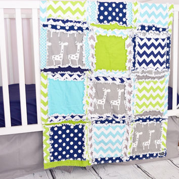 Baby Boy Giraffe Crib Set - Aqua, Green, Navy, Gray - Jungle Nursery Bedding