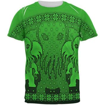 DCCKU3R Ugly Christmas Sweater Big Cthulhu Greater Gods All Over Mens T Shirt