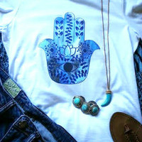 Hippie bohemian zen blue hamsa hand tshirt for juniors girls and women
