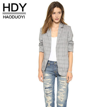 HDY Haoduoyi Fashion OL Women Blazer Coat Color Block Plaid Blazer Lapel Outwears Pockets Casual Notched Blazer Overcoat