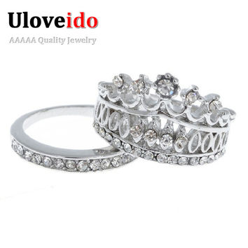 Crown Couple Ring for Men Women Wedding Lovers' Party Jewelry Fashion White Crystal Stones Korean Star Charms Anel Coroa SJ002