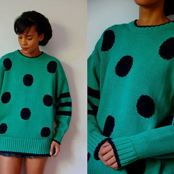 Vtg Polka Dots & Stripes Green Black Knitted Cotton Sweater