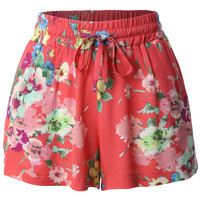 LE3NO Womens Lightweight Loose Floral Printed Summer Shorts
