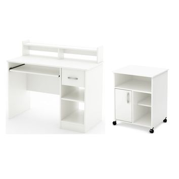 Axess Writing Desk with Keyboard Tray and Printer Stand